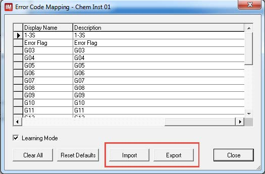 Example of the Import / Export buttons within Error Code Mapping